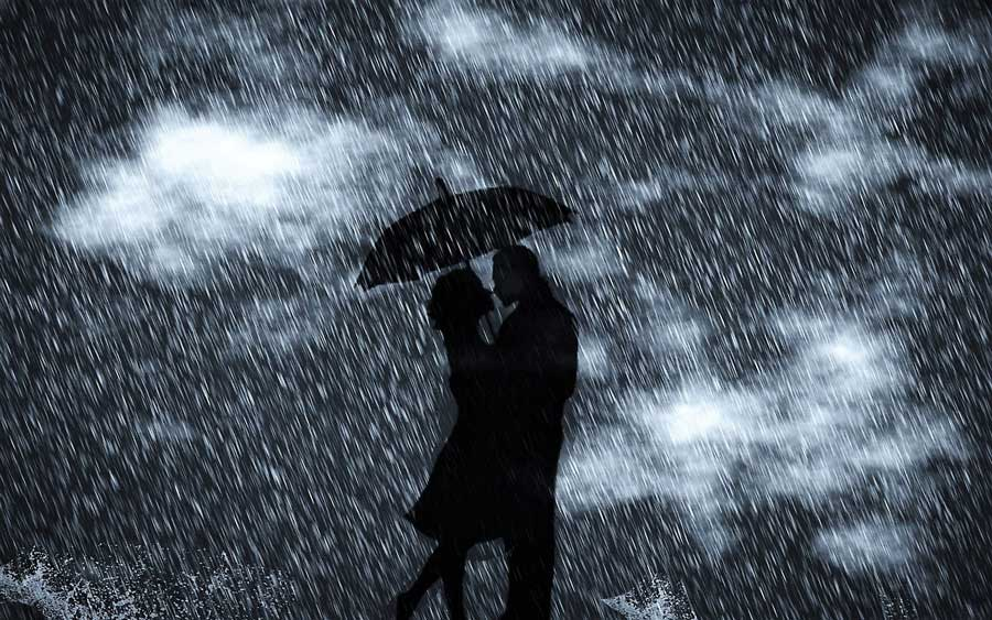 Love Couple's Romance in the Rain Wallpapers