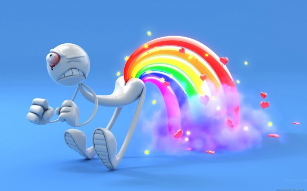 love and rainbow funny 3d wallpaper