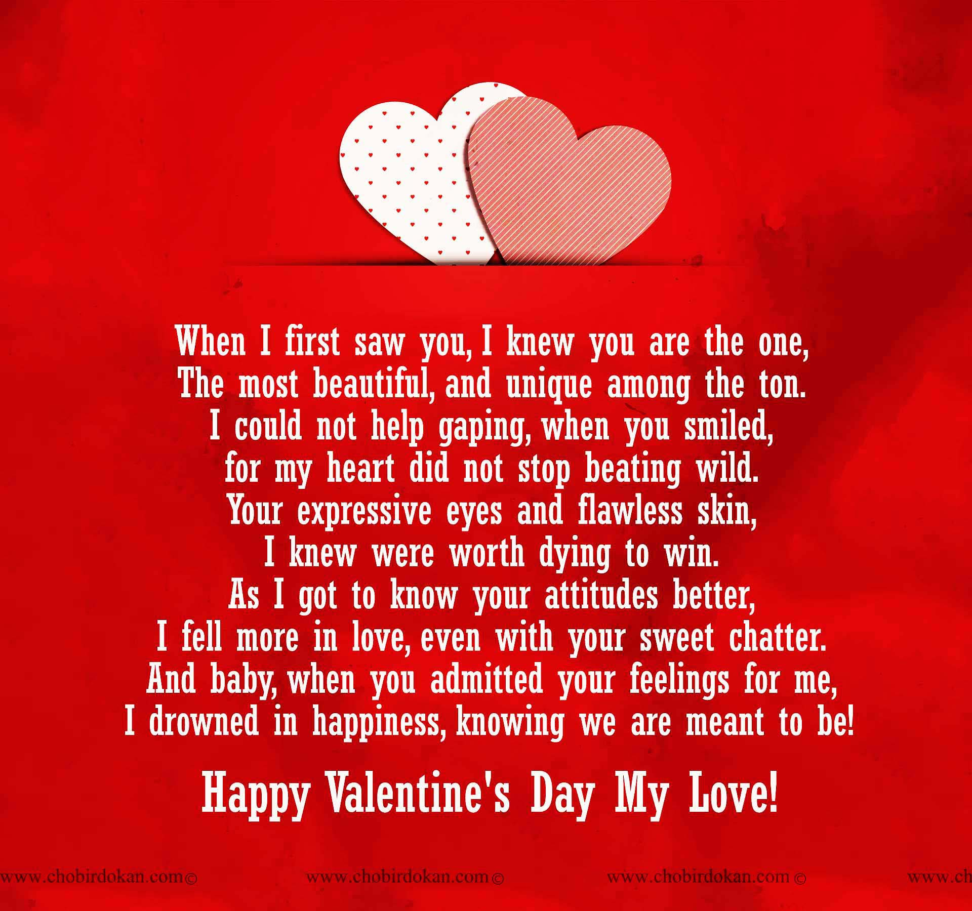 When I First Saw You I Fell In Love Quotes: Happy Valentines Day Poems For Her, For Your Girlfriend Or