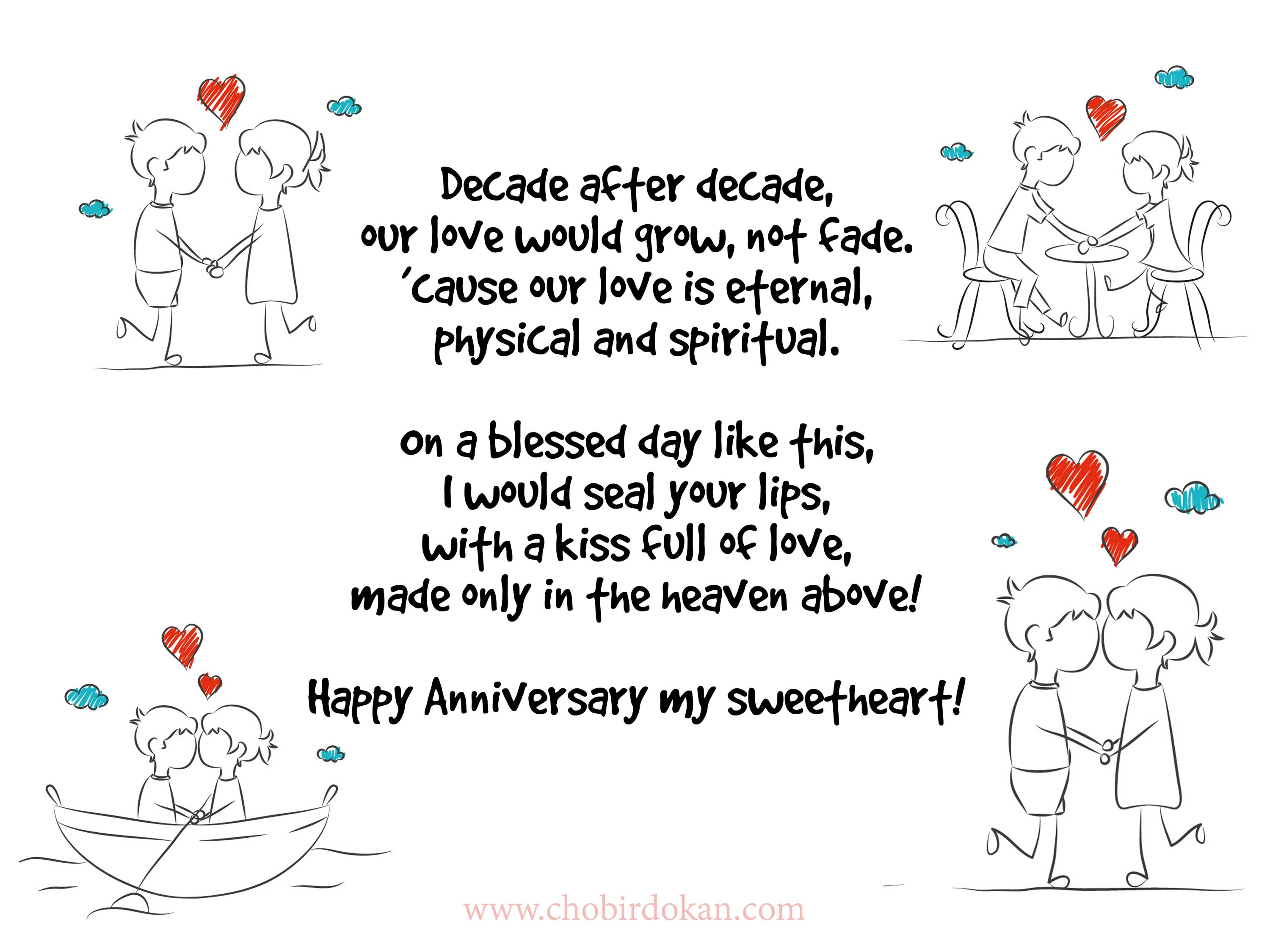 Romantic anniversary poems for her wife or girlfriend
