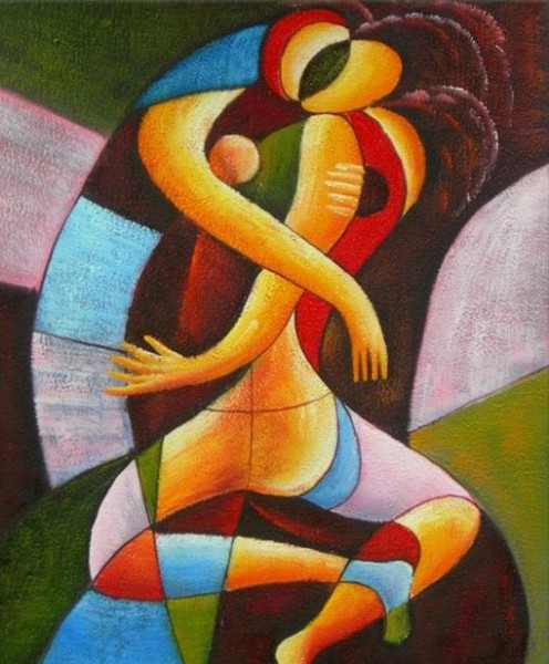 CUBIST OIL PAINTING OF LOVING COUPLE