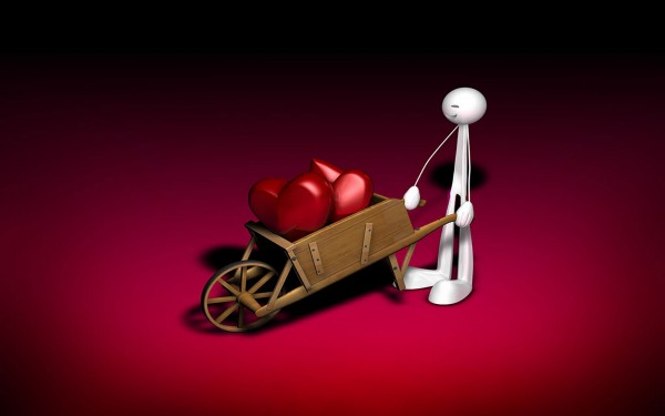 Funny 3D Robot Carrying Hearts wallpaper