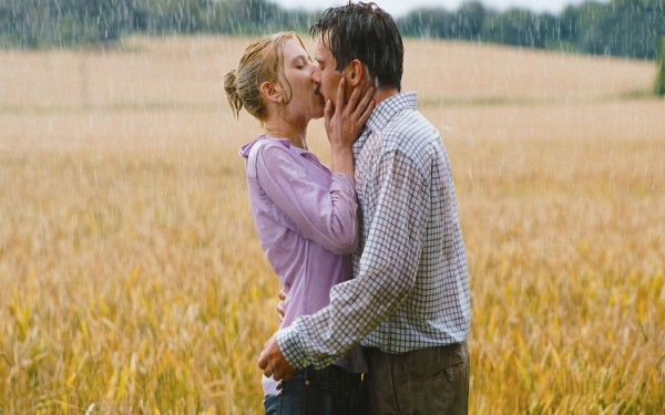 Lip kiss of love couple in rain