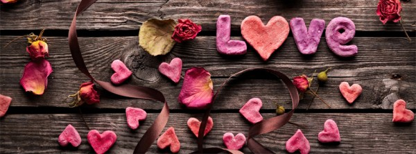 Love rose on wooden wall facebook cover