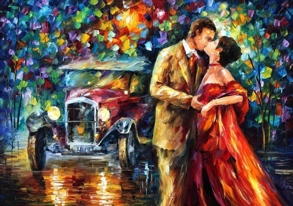 OLD KISS—Kiss oil Painting of Love pair