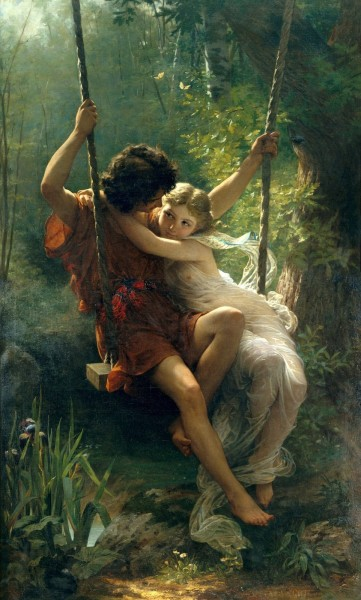 Romantic couple in spring painting-Spring by Pierre Auguste Cot