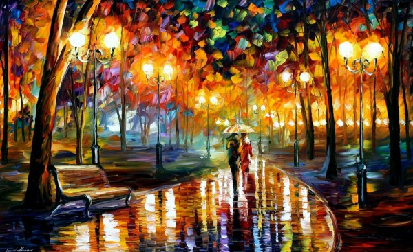 Rain's Rustle—PALETTE KNIFE-A beautiful oil painting