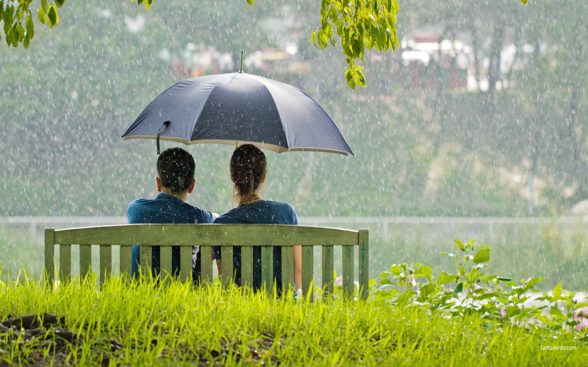 Romantic Couple Sitting In Park While Raining