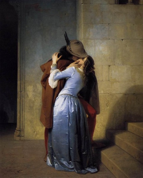 Kissing Oil Painting of passionate Love Couple -The Kiss by Francesco Hayez