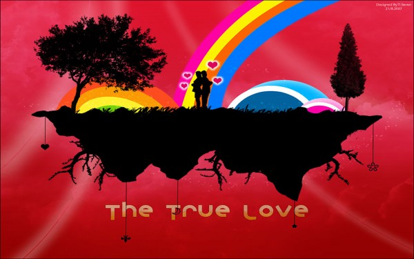 The True Silhouette Love Vector Wallpaper