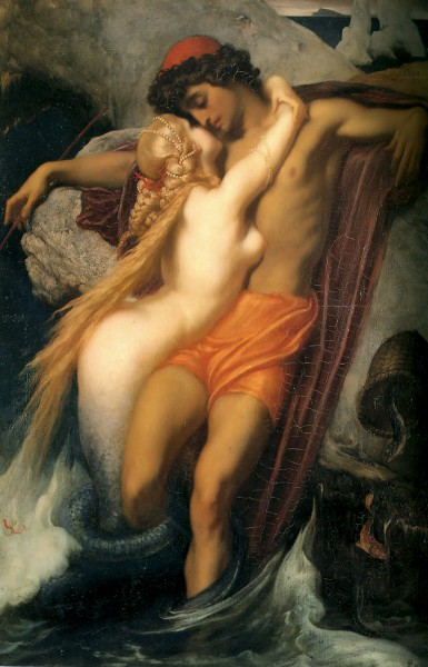 romantic art paintings-The Fisherman and the Syren by Sir Frederic Leighton