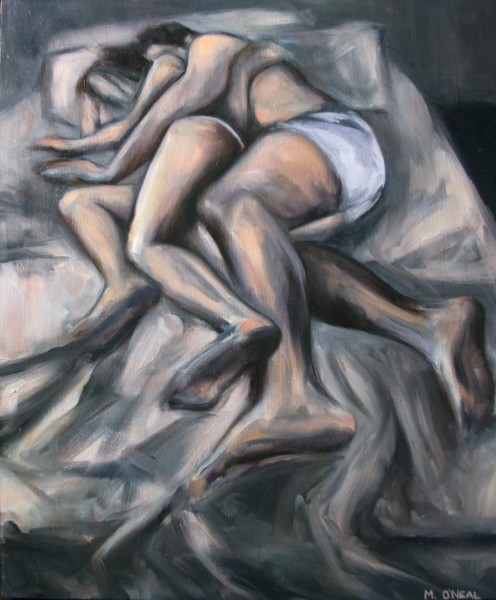 Sexy Painting of a young couple sleeping by Meredith O Neal