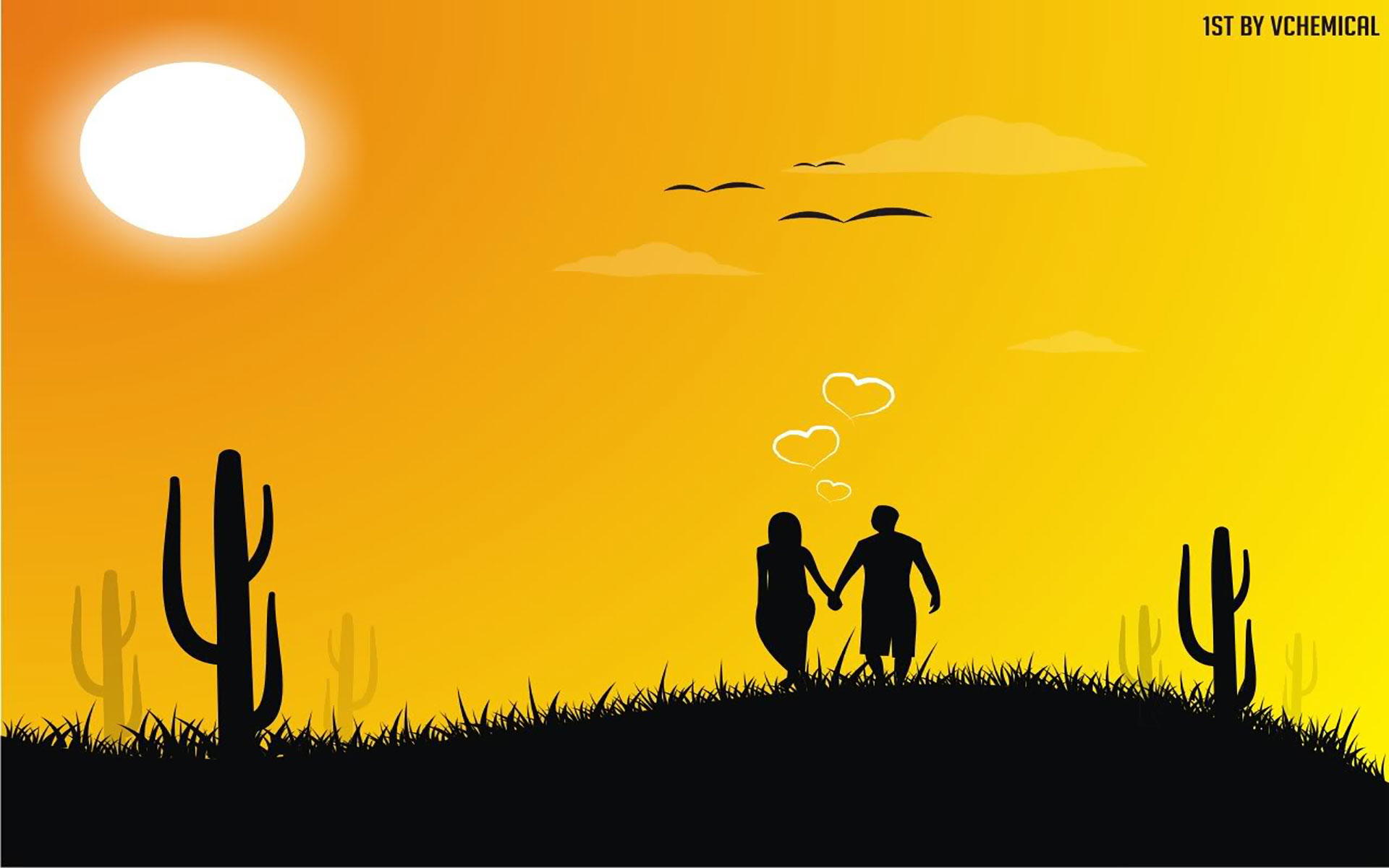 silhouette of couple holding hands
