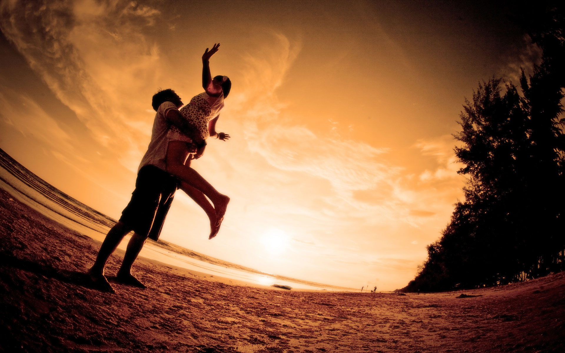 Hd wallpaper couple - Beach Sunset Couple Hd Wallpapers
