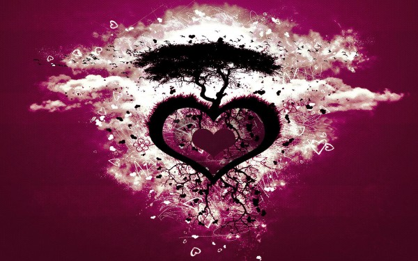 Love tree on heart-Free vector Photo