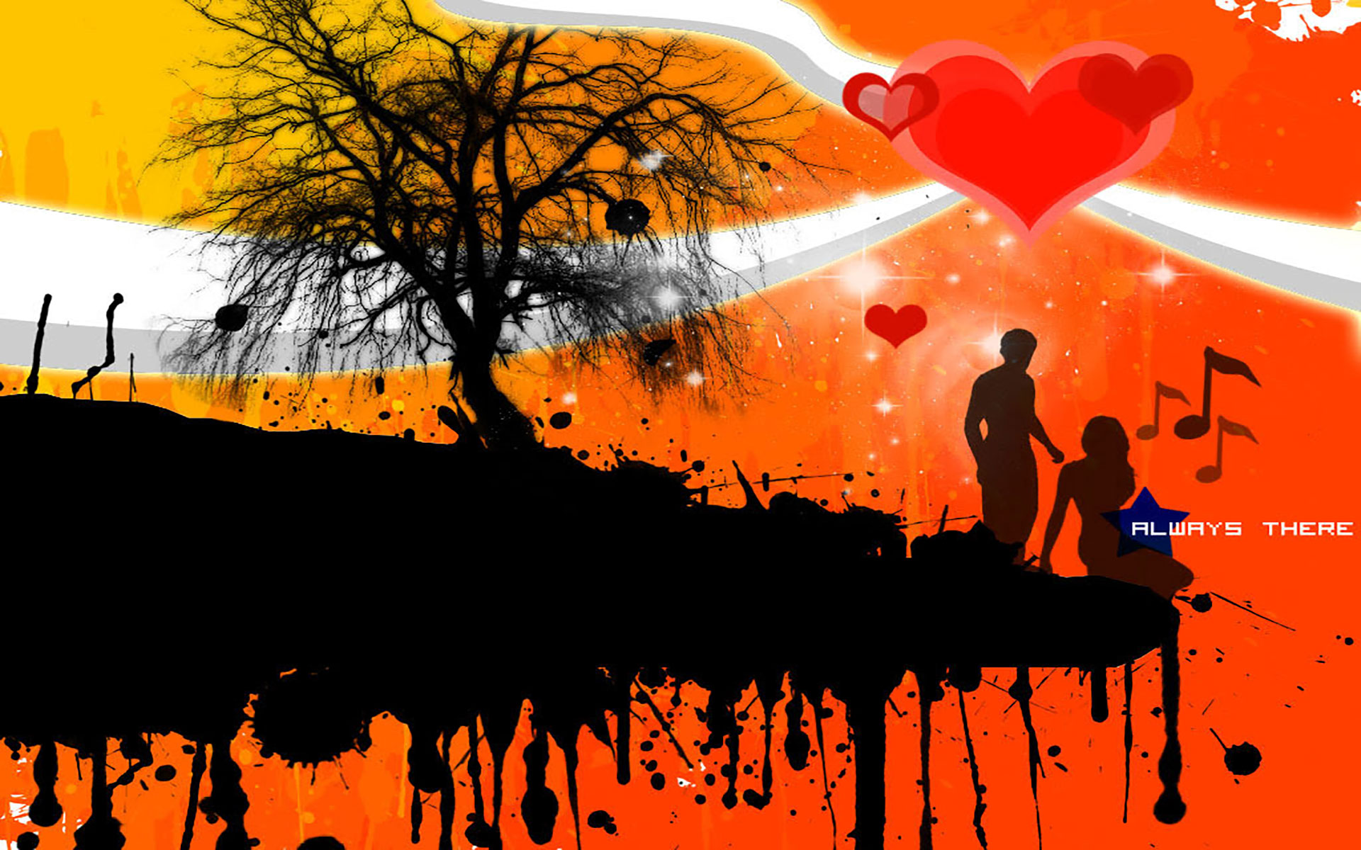Love Xpress Wallpaper : Silhouette Of couple Holding Hands -Dancing couple Silhouette