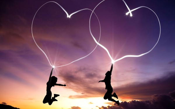 Love wallpapers with two jumping lovers