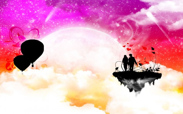 Love is in sky high-vector background
