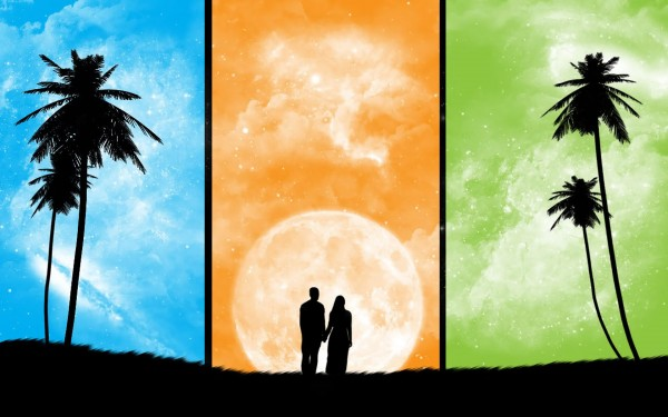 moment of love-cool Silhouette vector background