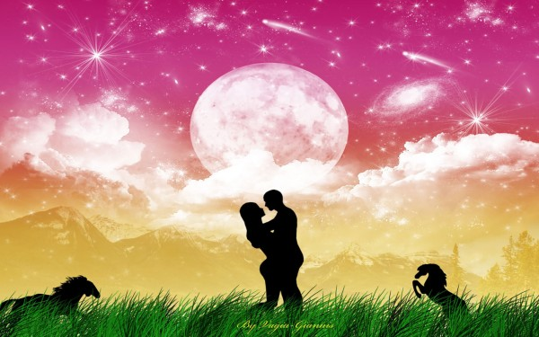 Silhouette couple Love in Heaven-vector background