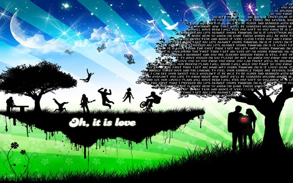 What is love- Silhouette Vector Image
