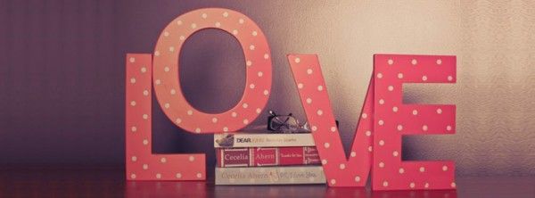 pink love letters and books fb cover photo for timeline