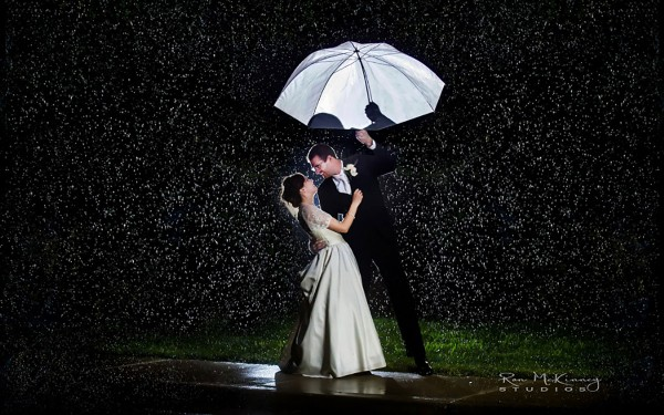 Romance of couple in a rainy night