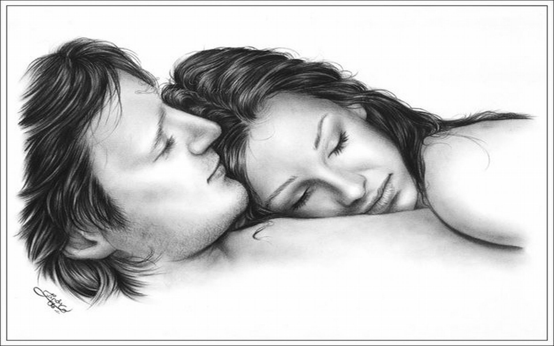 Her pencil drawing girl and boy romance