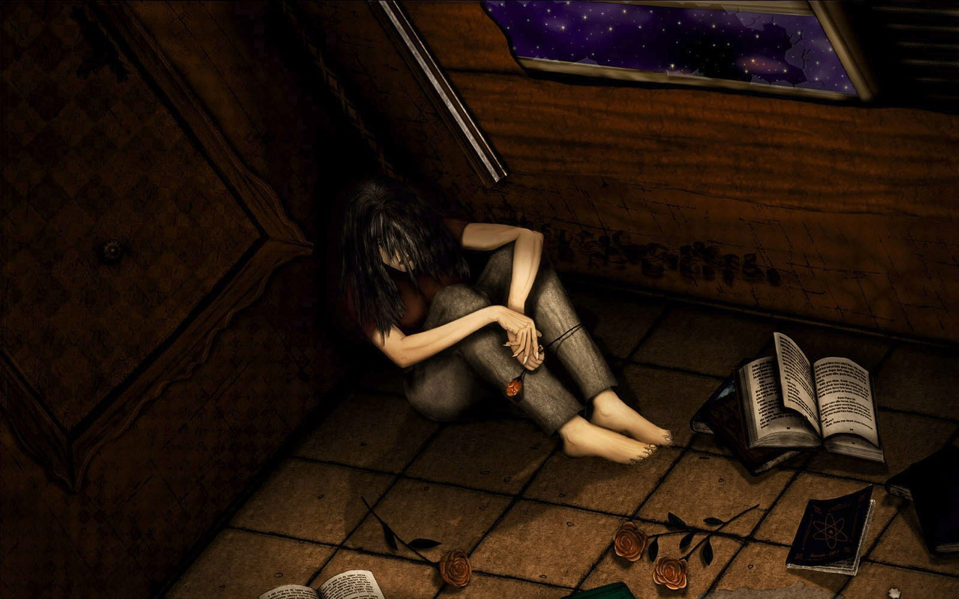 Sad animated girl in the corner of the room
